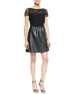 Bailey 44 Stary Sky Lace & Faux-Leather Short-Sleeve Dress