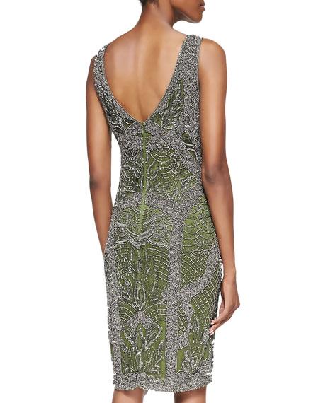 Beaded V-Neck Cocktail Dress, Fern