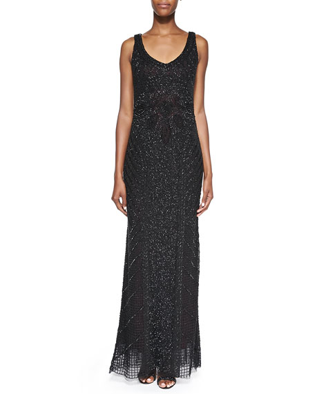 Sleeveless Beaded Deco Gown, Black/Ruby