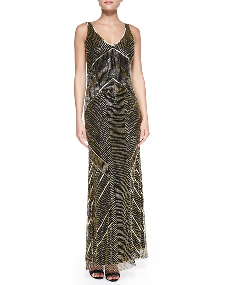 Sleeveless Beaded Deco Gown, Black/Gold