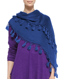 Eileen Fisher Modal Twill Tassel-Trim Scarf, Adriatic