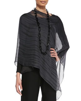 Eileen Fisher Sheer Shibori Silk Poncho, Charcoal