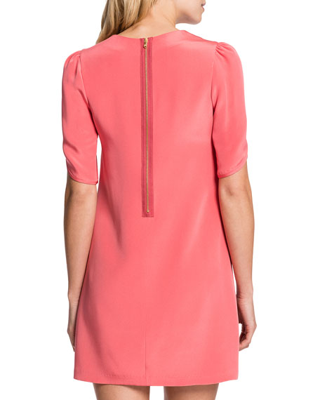 Tulip-Sleeve Sunday Dress, Coral Bloom