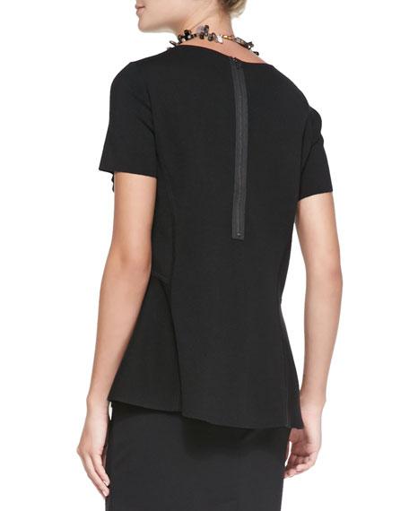 Short-Sleeve Peplum Tank, Black, Women's