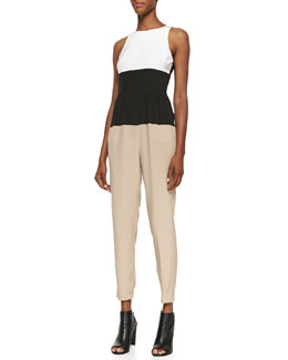 Tibi Colorblock Crepe de Chine Jumpsuit