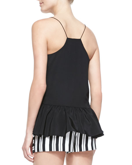 Silk Ruffled Cami, Black