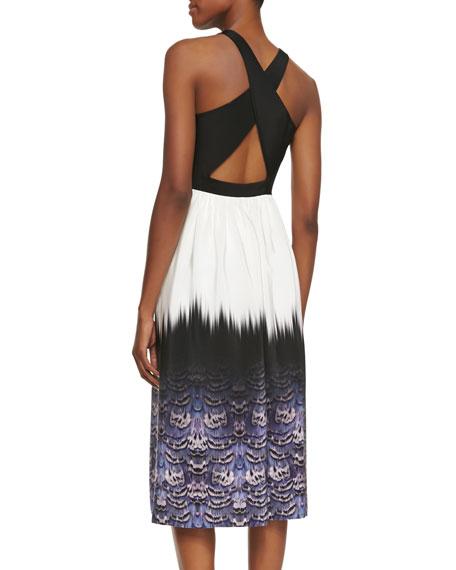 Ibis-Bordered Cross-Back Dress