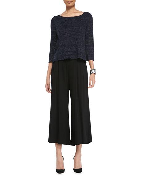 Wide-Leg Cropped Jersey Pants, Black