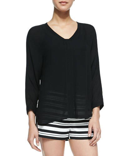 Tibi Gauze Split-Neck Top, Black