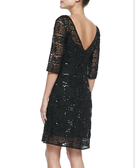 Sequined Embroidered Sheath Dress, Black