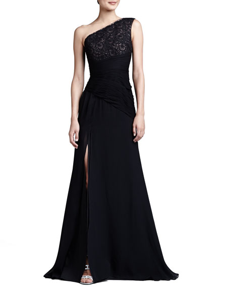 ML Monique Lhuillier One-Shoulder Embroidered-Bodice Gown