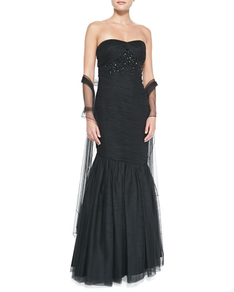 Strapless Beaded-Bodice Gown, Black