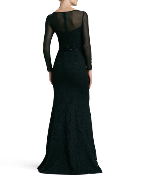 Illusion Jewel-Neck Beaded-Waist Gown