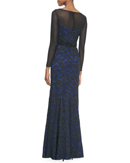 Illusion Lace Beaded-Waist Gown