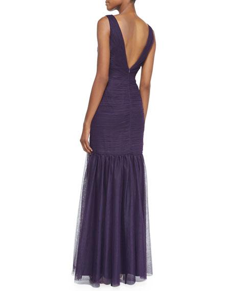V-Neck Tulle Gown