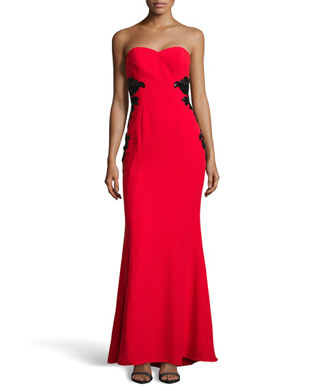 Strapless Empire-Waist Gown, Rouge/Black