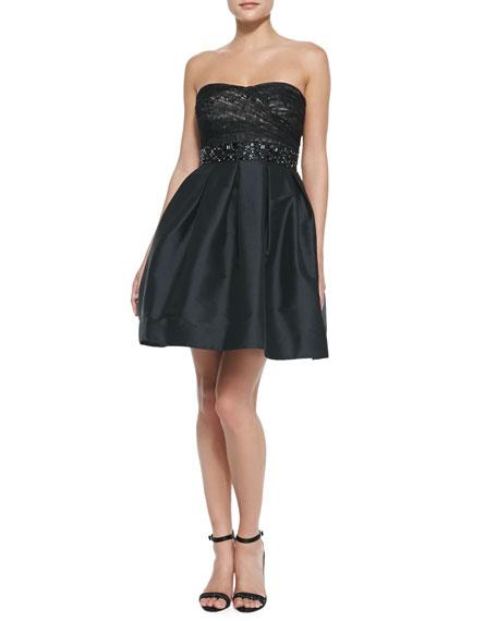 Strapless Beaded-Waist Cocktail Dress