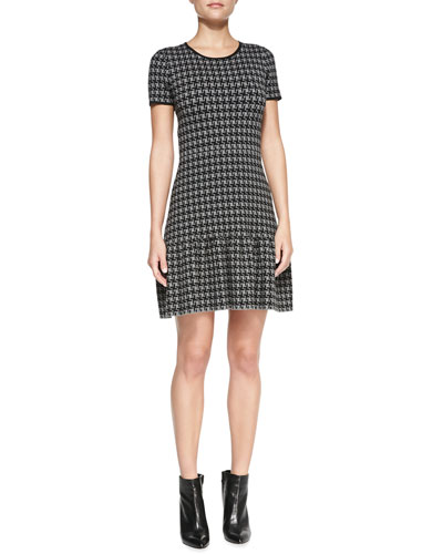 Shoshanna Jenny Short-Sleeve Houndstooth Dress