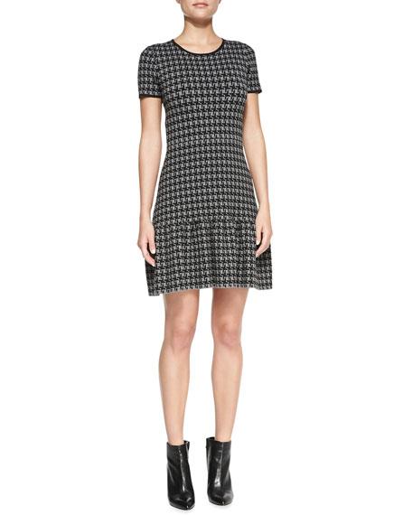 Shoshanna Jenny Short-Sleeve Houndstooth Dress