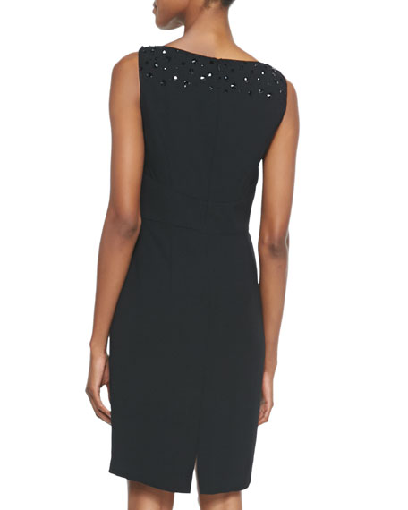 Embellished V-Neck Cocktail Dress, Black