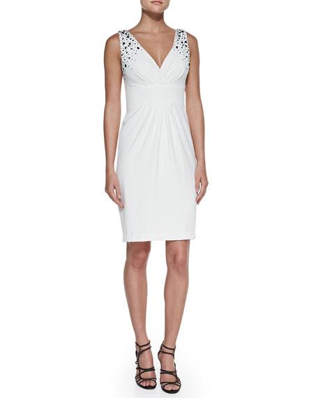 Embellished V-Neck Cocktail Dress, Pearl