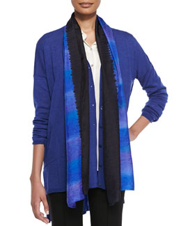 Eileen Fisher Painted Silk Striped Scarf, Ink