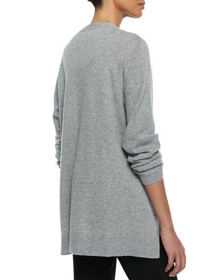 V-Neck Zip-Front Cashmere Cardigan, Moon