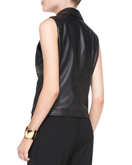 Fisher Project Asymmetric Lambskin Leather Moto Vest