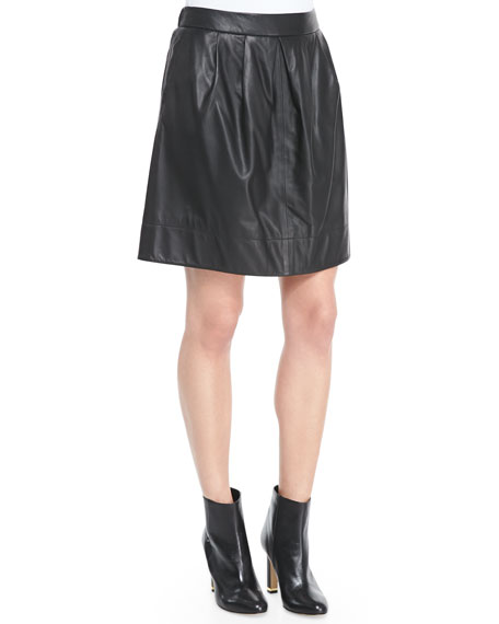Fisher Project Short Pleated Leather Skirt, Black