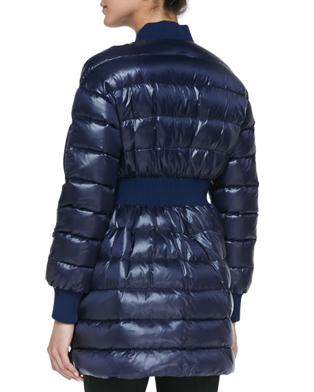 Puffer Coat with Elastic Waist