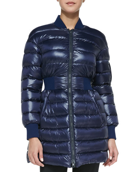 Puffer Coat with Elastic Waist