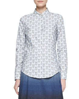 RED Valentino Owl-Print Cotton Poplin Blouse