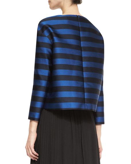 Long-Sleeve Striped Mikado Top