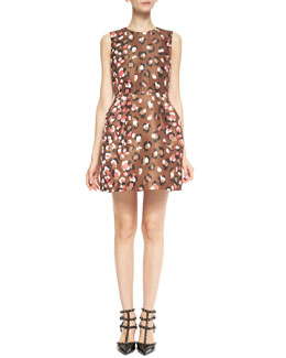 RED Valentino Sleeveless Pop Leo-Print Dress