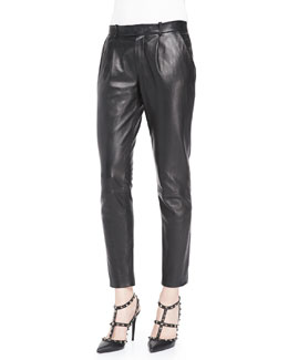 RED Valentino Lambskin Leather Trousers