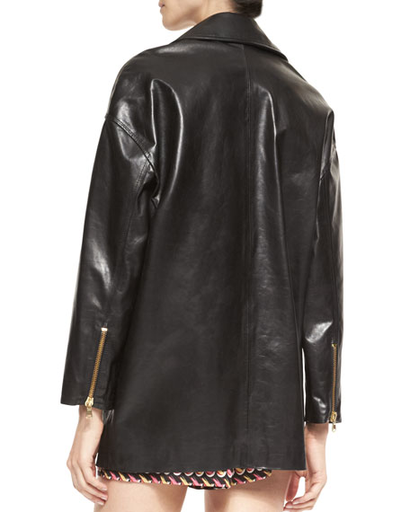 Long Leather Motorcycle Jacket