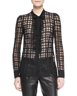 RED Valentino Sheer Organza Check Blouse