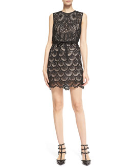 RED Valentino Sleeveless Macramé Owl Dress