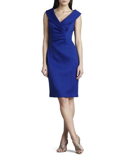 Kay Unger New York Shawl-Collar Pique Dress