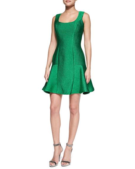Square-Neck Flutter Cocktail Dress