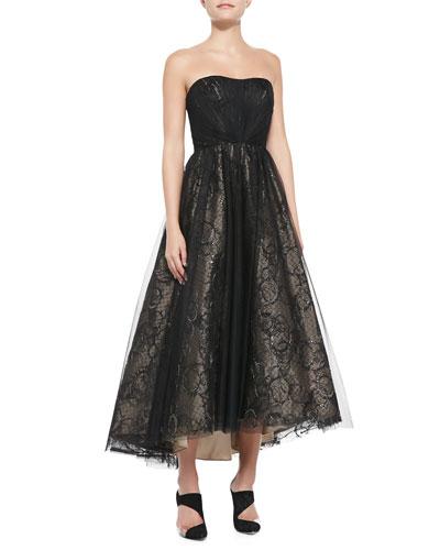 ML Monique Lhuillier Strapless Tea-Length Tulle Cocktail Dress