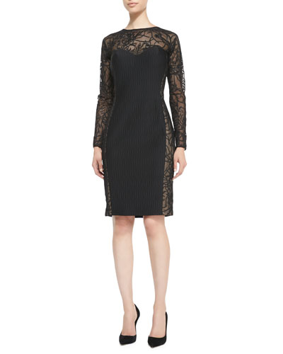 Tadashi Shoji Long-Sleeve Lace Illusion Cocktail Dress