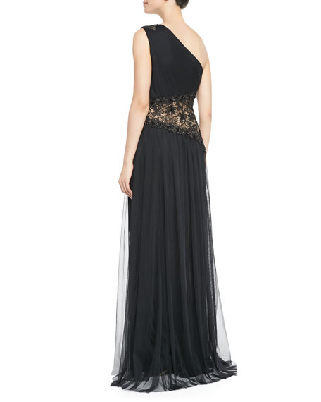 One-Shoulder Lace Inset Gown