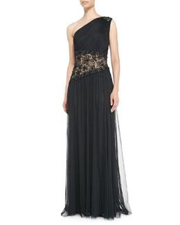 Tadashi Shoji One-Shoulder Lace Inset Gown