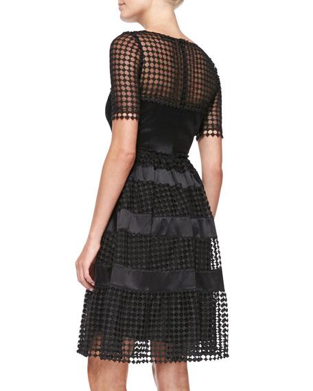 Short-Sleeve Net-Overlay Cocktail Dress