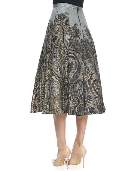 Flared Paisley-Print Silk-Linen Skirt