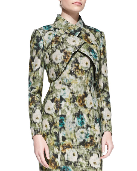 Kay Unger New York Long-Sleeve Crisscross Floral Bolero