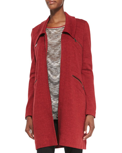 NIC+ZOE Permafrost Knit Zip-Pocket Jacket, Rio Red