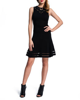Cynthia Steffe Embroidered-Yoke Dress w/ Open-Weave Hem