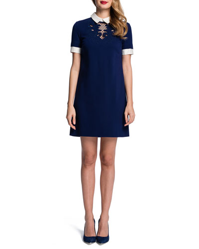 Cynthia Steffe Short-Sleeve Embroidered-Yoke Shift Dress